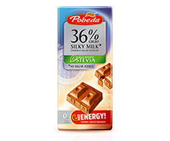 No Sugar Added  Milk Chocolate  36 % Cocoa with  Stevia